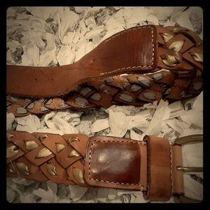 Breaded leather belt